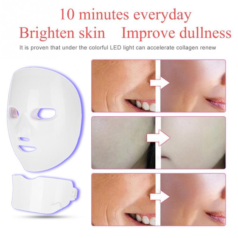7 kolory Photon maska odmładzania skóry twarzy szyi skóry zaostrzenie Lifting skóry odmładzanie twarzy uroda LED twarzy urządzenie maskujące w Przyrządy do pielęgnacji skóry twarzy od Uroda i zdrowie na  Grupa 2