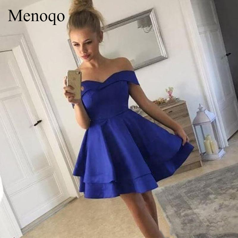 Menoqo Simple Short   Cocktail     Dresses   Off The Shoulder Ruffles Satin Royal Blue Short Party   Dresses