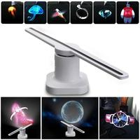 LED 3D Hologram Projector Holographic Advertisement Display Fan Unique LED Light Advertising Lamp US/EU/ Plug