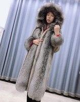 Норковая шуба мех натурального меха норки пальто длиной в 1 м Настоящее пальто с мехом женские зимние натурального Меха чернобурки воротник