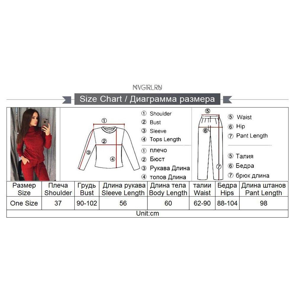 MVGIRLRU élégant tricot costume femmes deux pièces ensembles haute encolure ligne chandail + pantalon survêtement femelle tenues - 6
