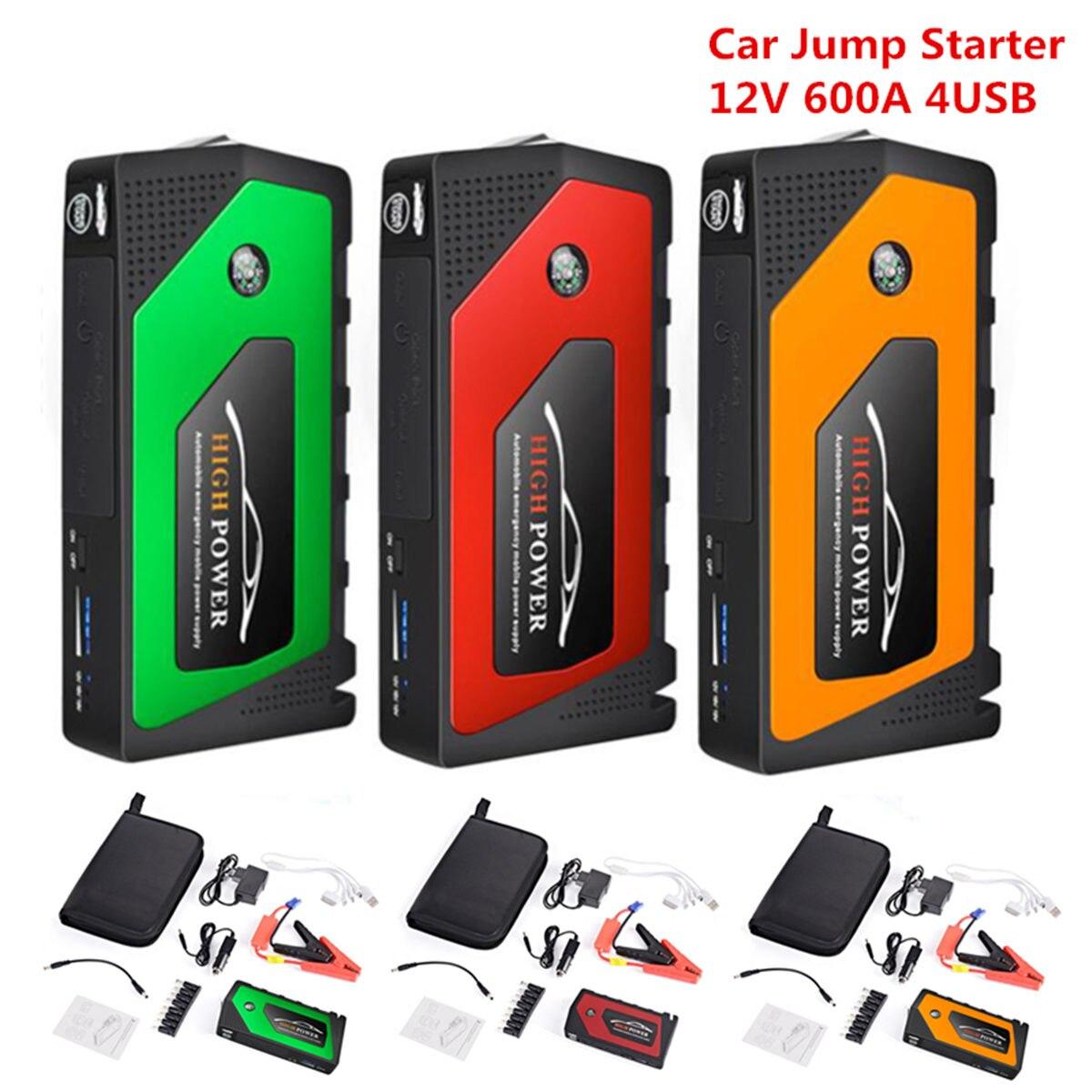 Démarreur de saut de voiture Portable 4 Ports USB démarreur de saut de voiture chargeur portatif batterie chargeur dispositif de démarrage pour les Diesels à essence de téléphone