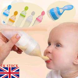 90 мл прекрасный безопасности для младенцев силиконовые кормления с ложка Фидер Еда риса бутылочка для каши для лучший подарок