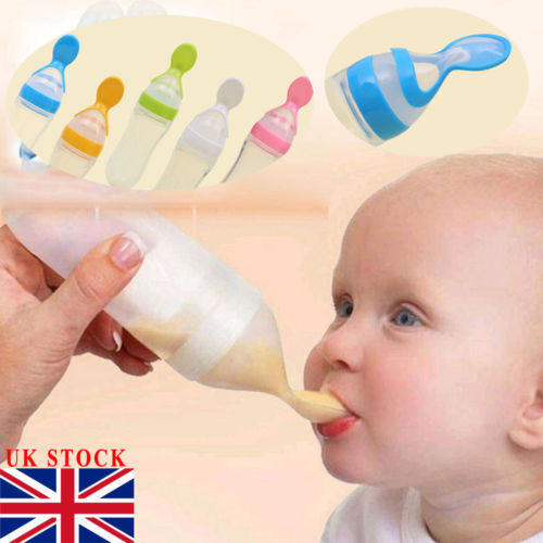 90ML Lovely Safety Infant Baby Silicone Feeding With Spoon Feeder