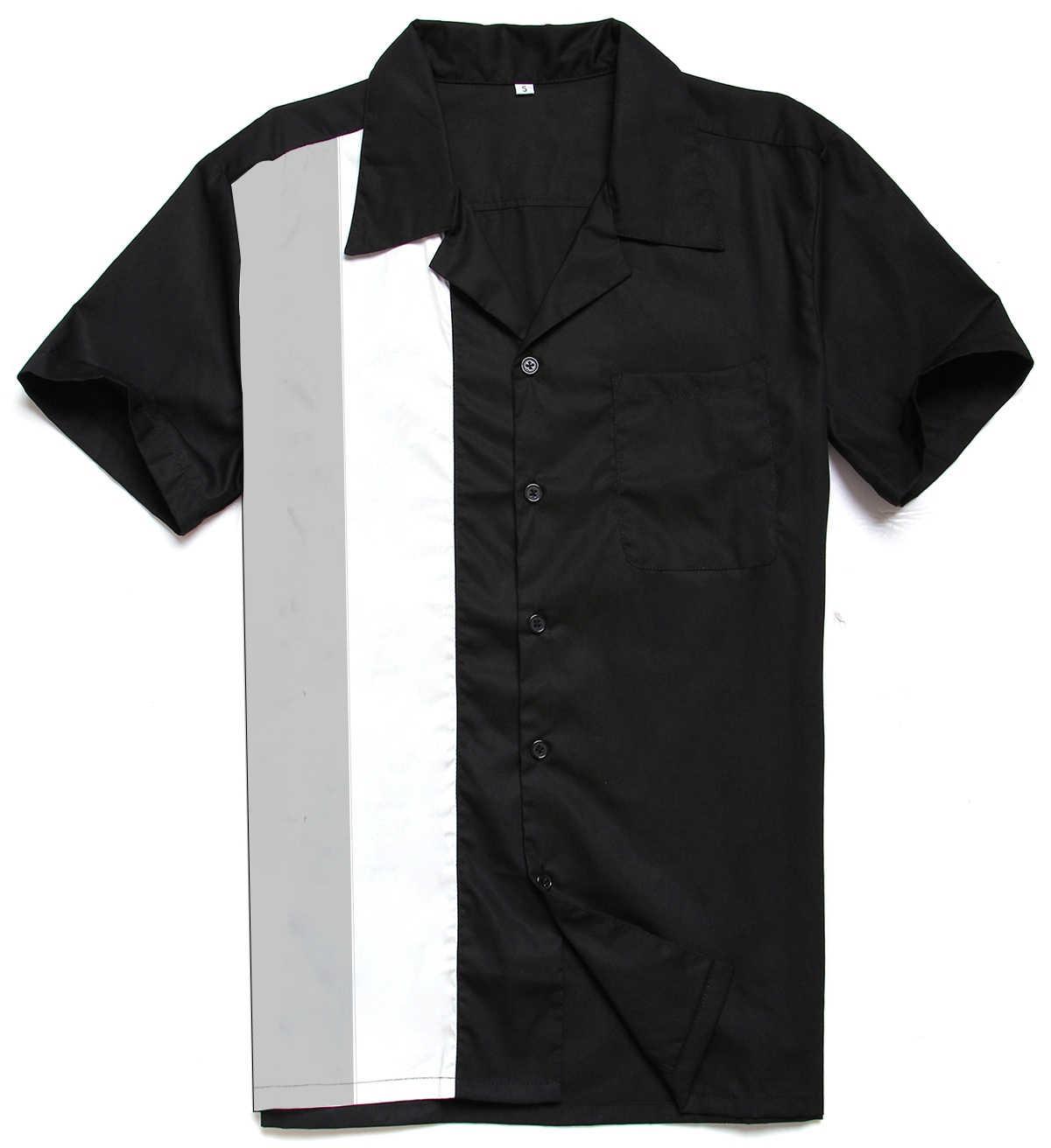 Neue Ankunft 2018 Amerikanischen Stil Rockabilly Männer Shirts Große Größe Kleidung Vintage Shirt Patchwork Rock N Roll Schwarz Kurzarm