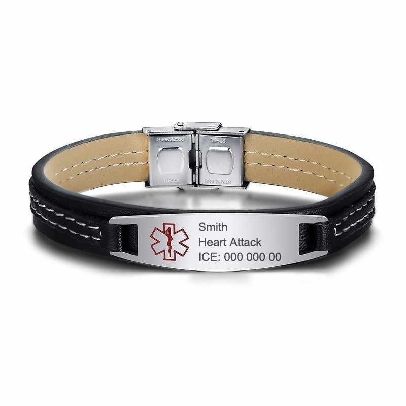 Free Engraving Disease Name ICE Contact Info Medical Alert ID Bracelets Mens Leather Bracelet Bangle 8.26""