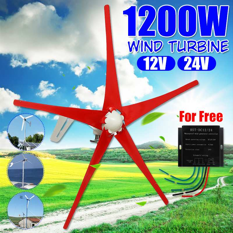 1200W Red Wind Turbines Generator Five Blades Wind Power Turbines With Waterproof Controller Fit for Home Or Camping1200W Red Wind Turbines Generator Five Blades Wind Power Turbines With Waterproof Controller Fit for Home Or Camping