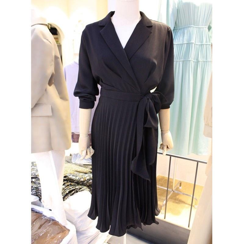 Women Clothing Korean Style Elegant Office Lady Pleated Dress Sashes Solid Female Notched Midi