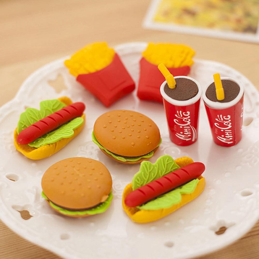 5 Pcs Kids Gift Cake Hamburger Food Shape Cute Drink Coke Rubber Eraser Stationery Supplies Painting Tool School Office Set
