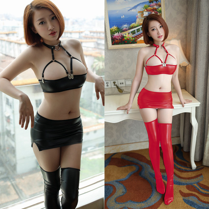 Sexy Women PU Faux Leather Micro MINI Skirt Bra Wet Look Club DS Dance Wear Skirt Fantasy Erotic Wear