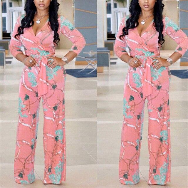 Plus Size Womens V-Neck Long Sleeve Jumpsuit arrival Ladies Autumn Clubwear Floral Print Playsuit Party Jumpsuit Long Trousers 4