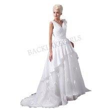 Wedding Dress 2018 Elegant Flowers Deep V Neck Pleats