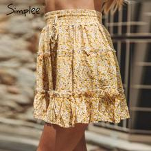 Simplee Bohemian ruffled women skirt Elastic lace up high waist ladies mini skirt Summer beach wear casual holiday bottom skirts