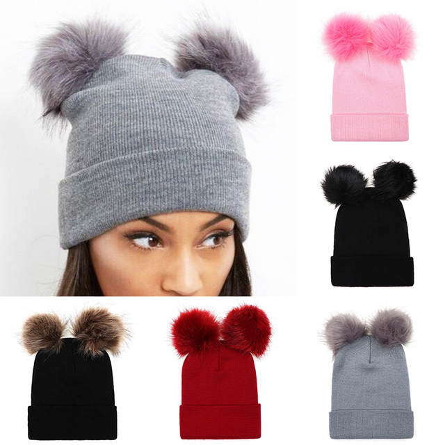 844f13ffce011c Winter ball cap mom and daughter crochet hat peas girl double ball Pom Pom hat  winter warm stretch soft and comfortable gift