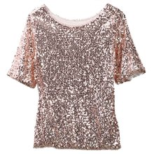 Hirgin Women Summer O-neck Loose Top Short Sleeve Ladies Casual Tops T-Shirt with Sequin