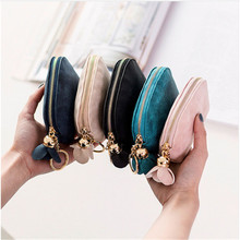 цена на Women Small Wallet Key Holder Leather Coin Purse Clutch Wallet Female Mini Card Pouch Coin Bag Money Handbag Girls New Year Gift