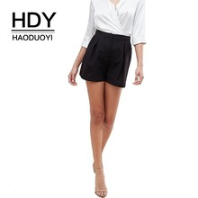 цена на HDY Haoduoyi 2019 Simple Commuting Pleated Detail A Type Solid Color Slim Fit Leisure Easy To Wear High Waist Shorts
