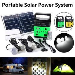 Solar Power Panel Generator Draagbare Power Solar Generator LED Light met FM MP3 USB Charger 10W 6V Solar panel Home Systeem