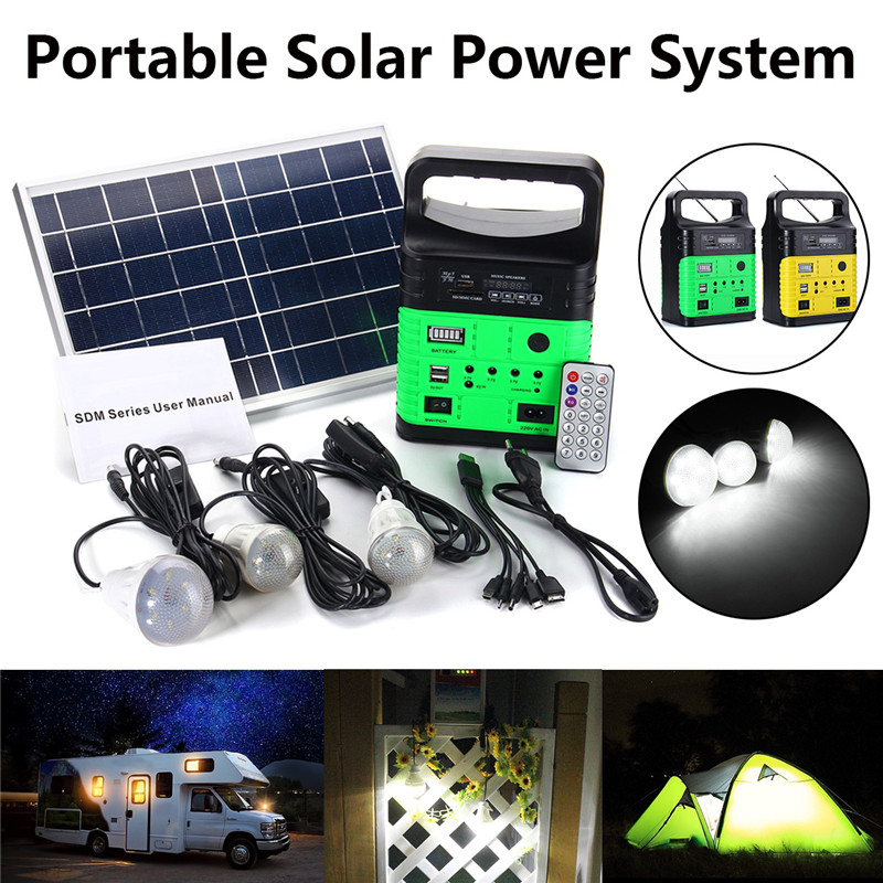 Solar Power Panel Generator Portable Power Solar Generator LED Light With FM MP3 USB Charger 10W 6V Solar Panel Home System