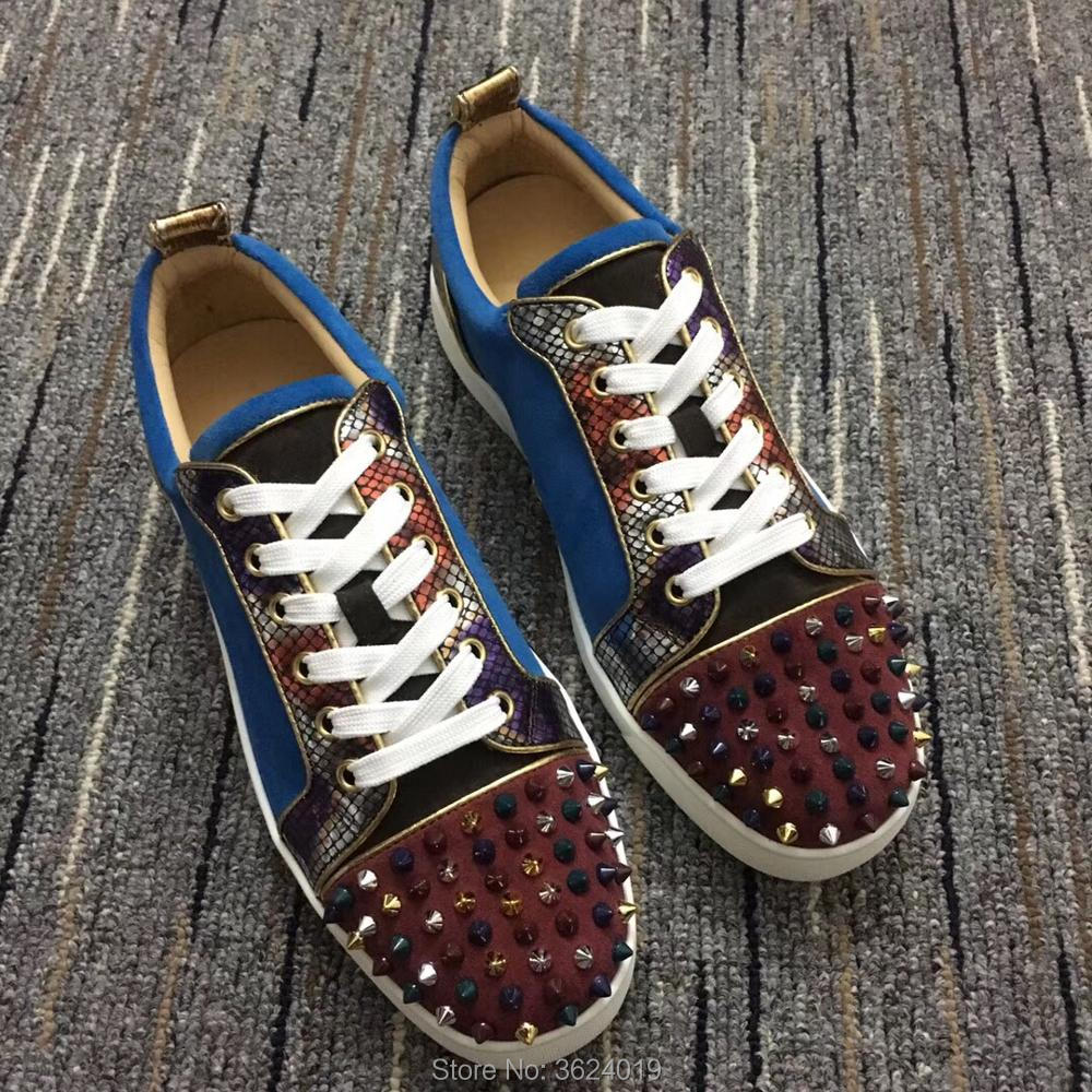 Low Cut cl andgz Blue Snake texture Lace up multicolor Rivets Fashion Party Red  bottom shoes 2be871ce9b9f