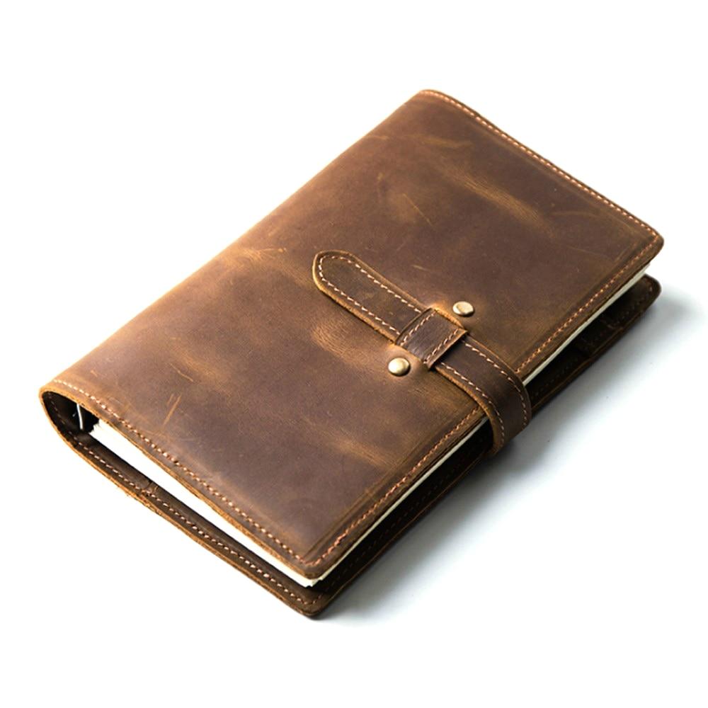 Handnote Vintage en cuir véritable carnet de notes Journal de voyage planificateur carnet de croquis Agenda bricolage recharge papier école cadeau d'anniversaire