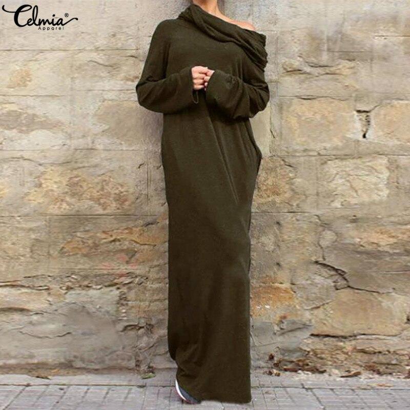 65d19e9e04f1d Celmia Winter Dress Women Sexy Off Shoulder Casual Long Sleeve Hooded Long  Maxi Dresses 2019 Vintage