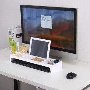 Image 3 - Masa üstü depolama rafı, çok fonksiyonlu ofis depolama malzemeleri, bilgisayar klavye sıralama raf, masaüstü düzenleyici