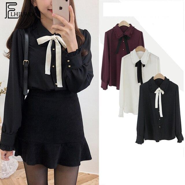 c5368fa1df Chiffon Blouses Shirts New Hot Sales Preppy Style Girls Bow Tie Tops Cute  Sweet Korean Temperament Lady Peter Pan Collar Shirt