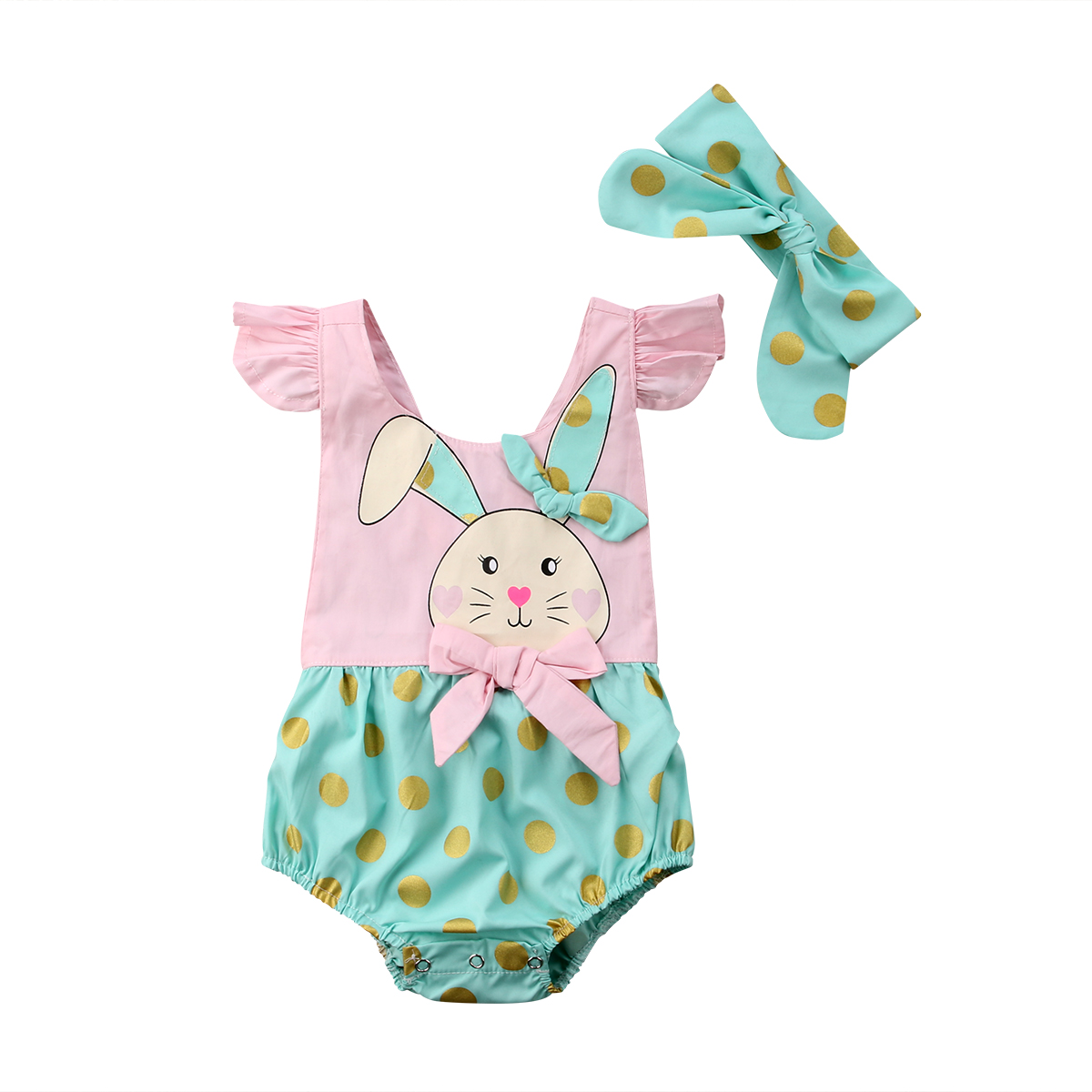 US Cute Kid Baby Girl Easter Rabbit Bunny Ruffle Romper Jumpsuit Sunsuit Outfits