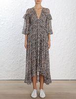 Prima Вишневое шелковое платье из ткани жоржет шелковое платье миди удлиненный подол Длинные Блузки с оборками V шеи ампир талии
