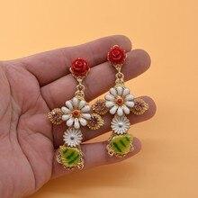 Fashion Design Women Drop Earrings Vintage Big Cross Flower Dangle Baroque Female Jewelry Retail Wholesale