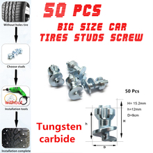 50pcs/lot 15.2mmx9mm Car Bike Motorcycle Wheel Tires Studs Screw Snow Spikes Chains Grip Winter