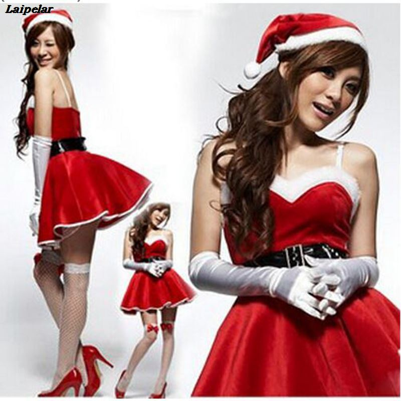 Laipelar New Year Adult Deluxe Jingle Christmas Costumes Red Dress Women Cosplay Santa Claus Costume