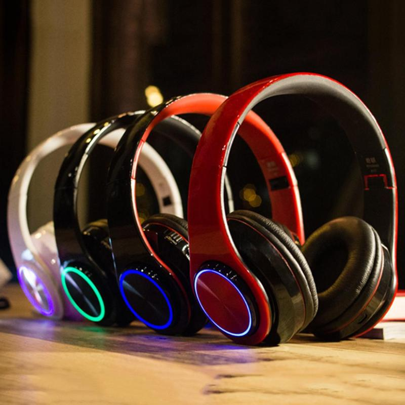 Luminous Wireless Bluetooth Headset Deep Bass Headphones Sports Stereo Earphone With Mic Card Slot Rainbow Led Earphone Fashion Smoothing Circulation And Stopping Pains Bluetooth Earphones & Headphones