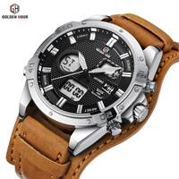 2019 GOLDENHOUR Dual Time Digital Analog Sport Watch Men Brown Leather Strap Light LED Alarm Calendar Display Waterproof Watches