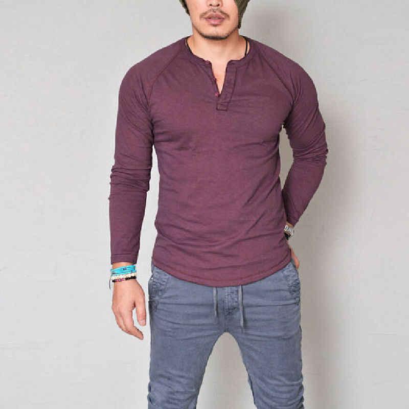Mode Herren Slim Fit Langarm T-Shirts Stilvolle Luxus Männer V Neck Baumwolle T Shirt Tops T plus größe S-XXXL