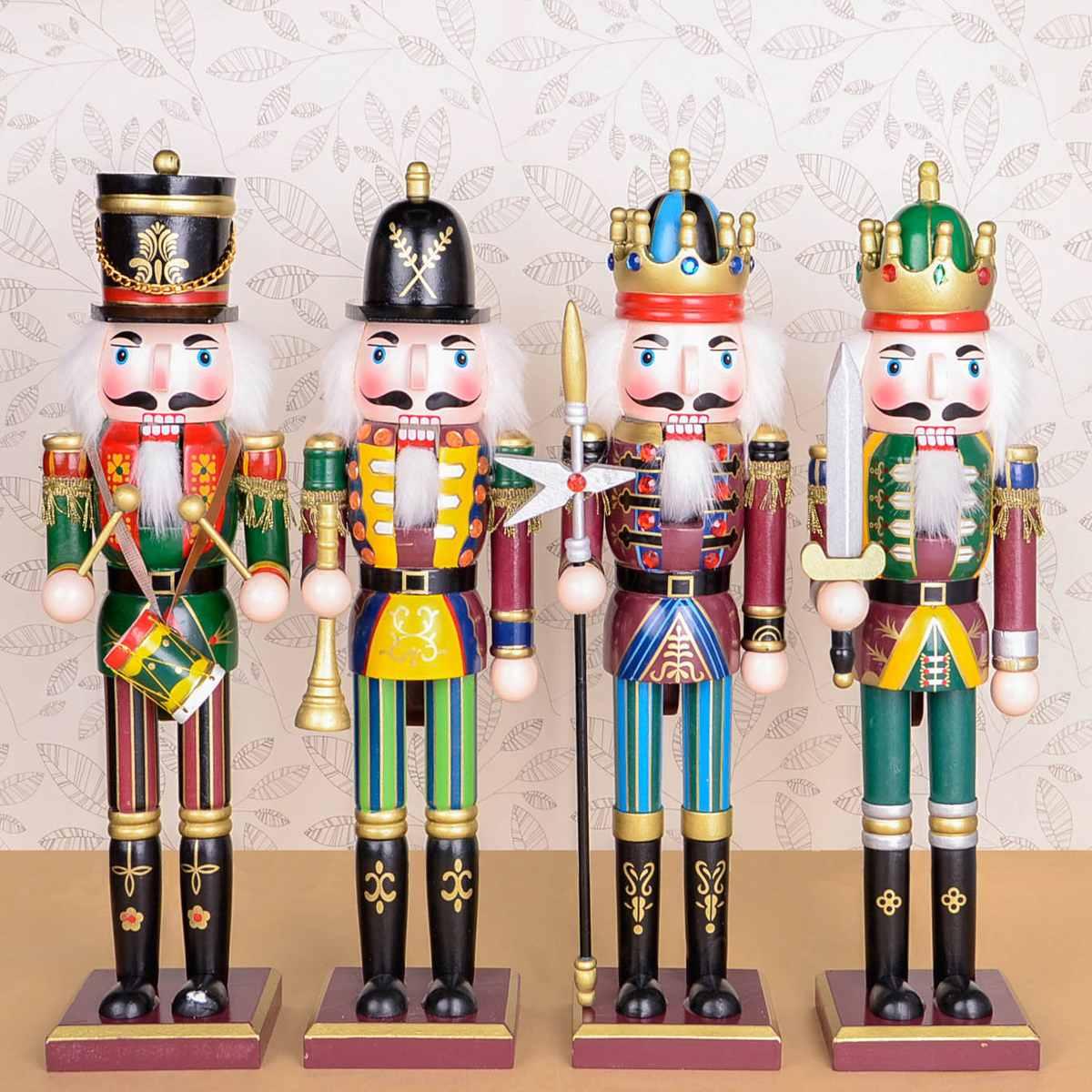 Wooden Nutcracker Doll Soldier Figures Vintage Handcraft Puppet Kids Toy Christmas Gift Decorative Ornaments Home Decoration Солдат
