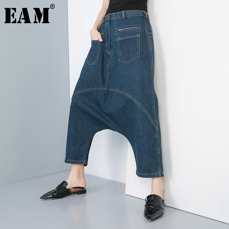 [EAM] 2019 New Autumn Winter High Elastic Waist Blue Pocket Split Joint Denim Loose Cross-Pants Women Trousers Fashion JR190