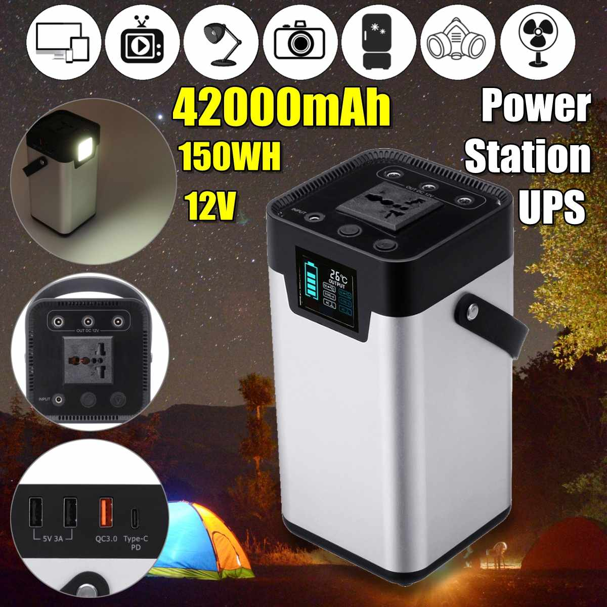 UPS 220V 150W/150WH 42000mAh Power Supply Pure Sine Wave Inverter Power Adapter For Home Office Outdoor Use Spare Charger Silver