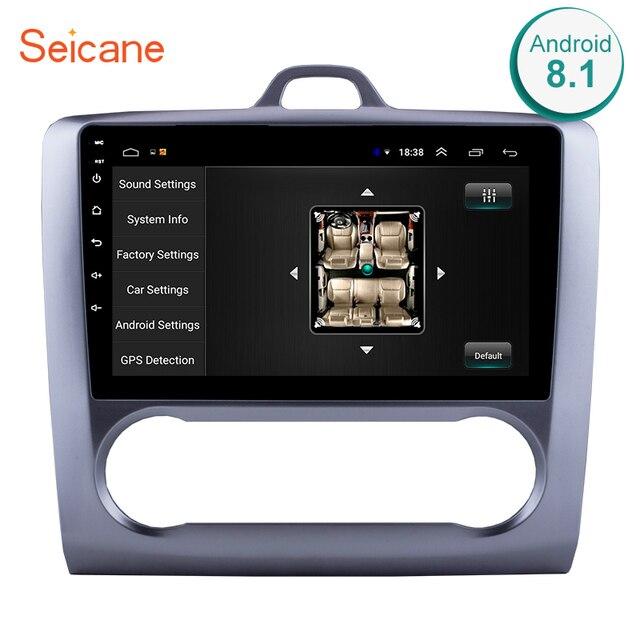 Seicane 2 DIN 9 дюймов Android 8,1 gps навигация Сенсорный экран четырехъядерный автомобильный Радио для 2004 2005 2006-2011 Ford Focus Exi AT