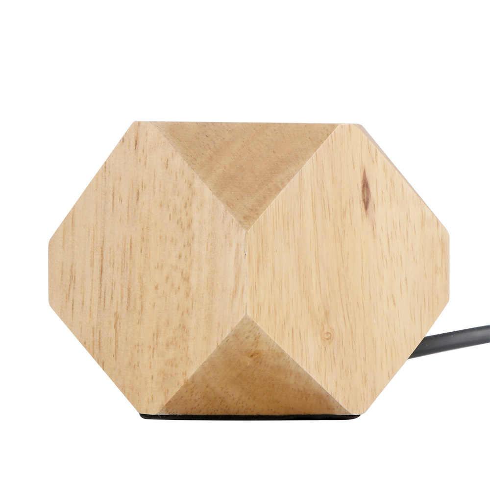 Lámpara de mesa moderna E27, lámpara de escritorio de madera, lámpara de noche de diamante para el hogar/dormitorio/decoración para sala de estar, Base de madera con enchufe europeo