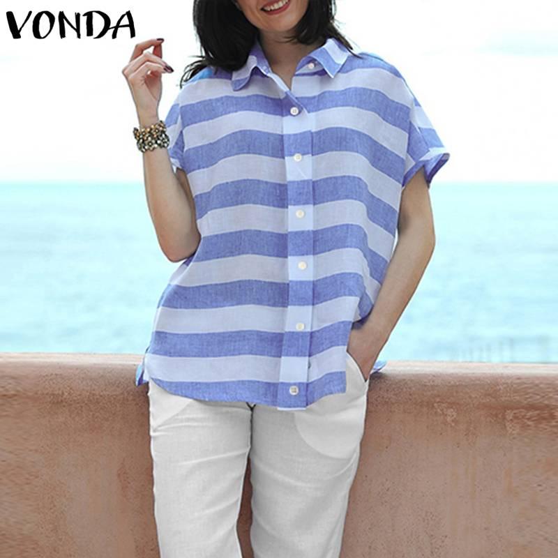 VONDA Women Striped   Blouses     Shirts   2019 Summer Casual Loose Lapel Batwing Short Sleeve Buttons Split Asymmetric Blusas Tops 5XL