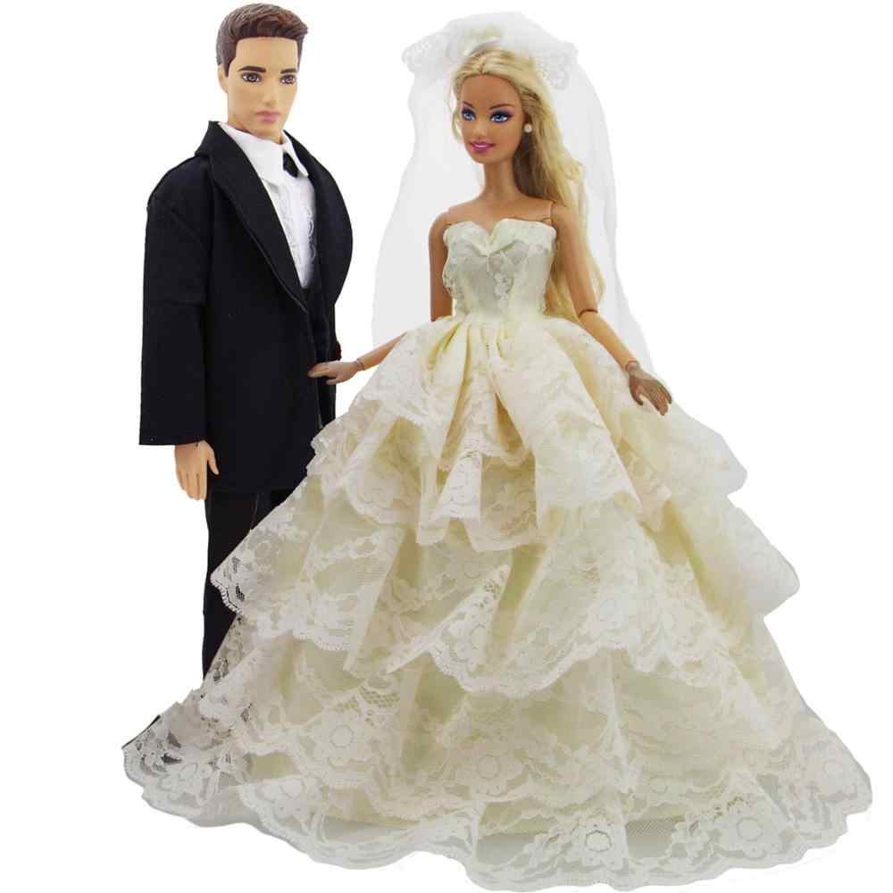 f555a17bb911 2 Set Handmade Outfits Black Suit + Wedding Dress Layered Ball Gown + Lace  Veil Princess