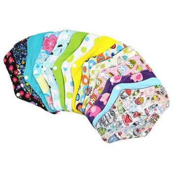 2pcs Washable Menstrual Pad Waterproof Reusable Bamboo Sanitary Cotton Cloth Pads Feminine Hygiene Panty Liner Soft Towel Pads