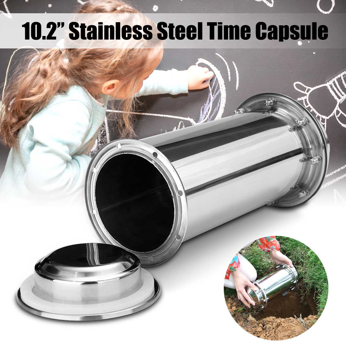Stainless Steel Time Capsule Waterproof Lock Container Storage Future Gift Length 26cm Diameter 10cm
