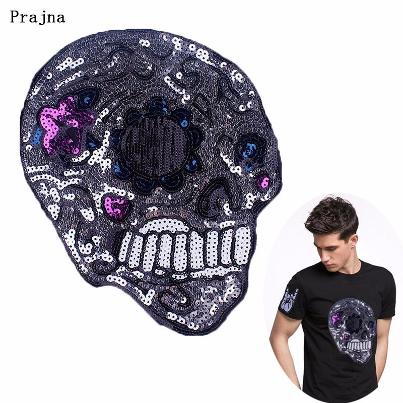 Prajna Punk Skull Sequins Patch Sewing Large Back Patch For Clothing T-shirt 3D DIY Rock Biker Style Applique Cool Decoration H