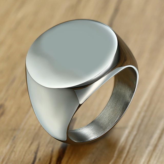 Men S Pinky Signet Silver Color Seal Ring Rustic Stainless Steel