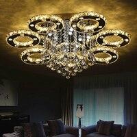 Moderno led lustres de teto para sala estar quarto instalação teto cristal + aço inoxidável lustre luminária