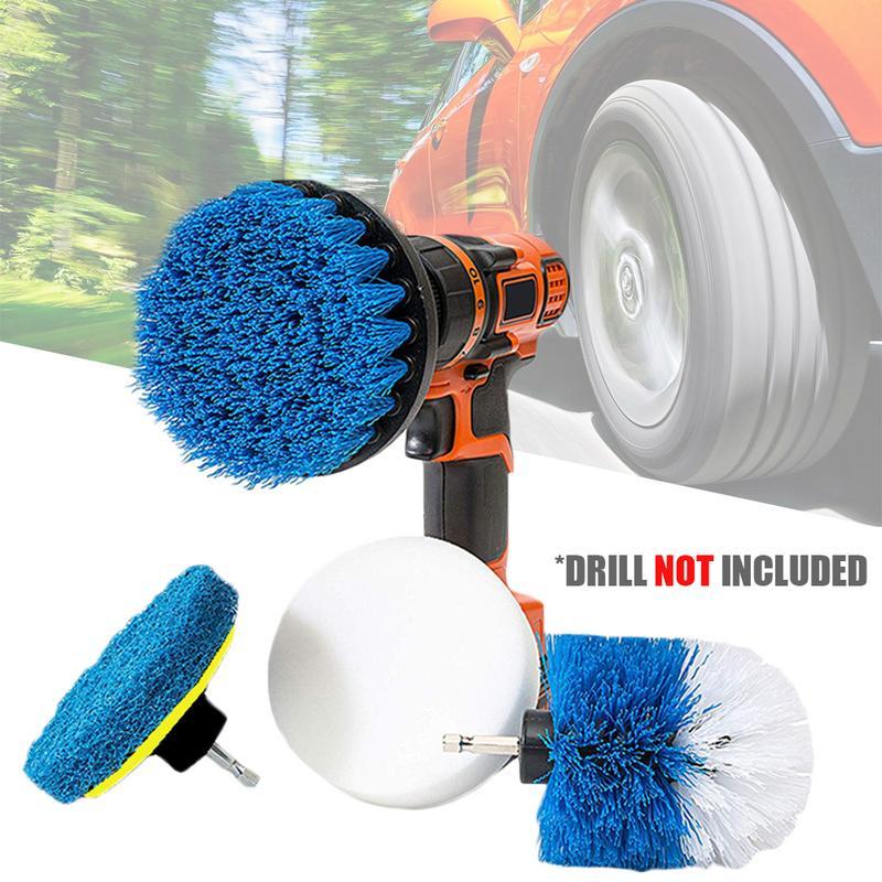 Stiff Bristle Wheel Cleaning Brush Car Carpet Brush Detail Brush 2 Pack Tire Brush