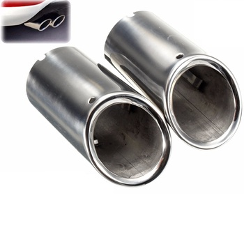 2Pcs Chrome Car Muffler Exhaust Stainless Steel Tail Pipe Tip For BMW E90 E92 325i 328i 3 Series 2006 2007 2008 2009 2010 image